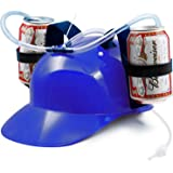 Novelty Place Guzzler Drinking Helmet - Adjustable Can Holder Cap Drinker Favor Hat - Straw for Beer Soda - Party Fun Beverage Gadgets(Blue)