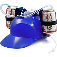Novelty Place Guzzler Drinking Helmet - Adjustable Can Holder Cap Drinker Favor Hat - Straw for Beer Soda - Party Fun…