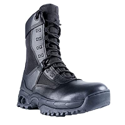 """Ridge Footwear Men's AIR-TAC Ghost with Zipper 8"""" Leather Steel Toe Boot, Black, 8, Wide: Sports & Outdoors"""