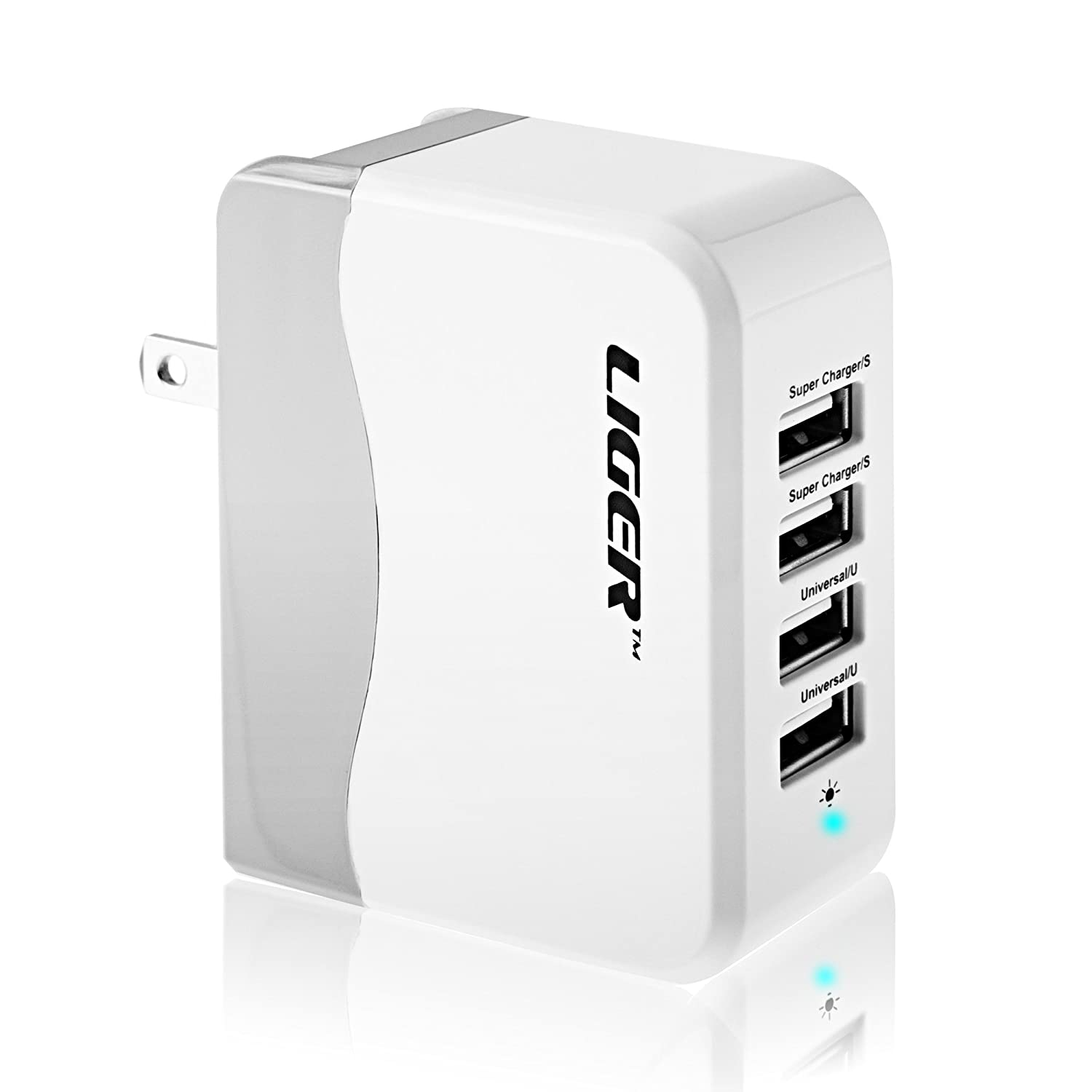 Amazon.com: [UL Certified] Wall Charger, Liger 34W 6.8A 4 Port USB Wall  Charger With Folding Plug Portable Charger For IPhone 6 Plus To 4, IPad  Mini,iPad ...