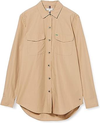 Tommy Hilfiger Lea Officer Shirt LS Camisa, Beige (Beige Aeg ...