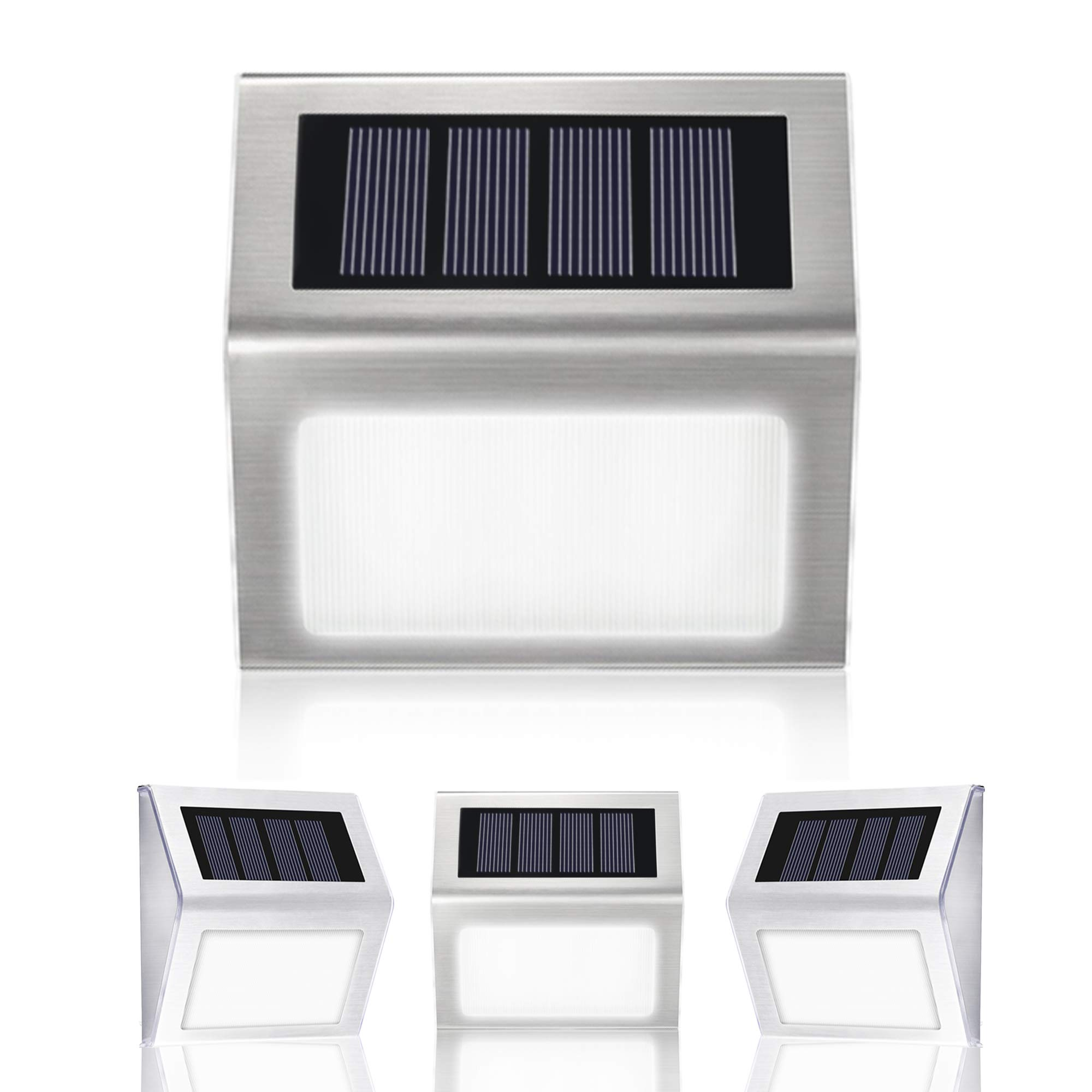 Solar Lights Outdoor Alture 3 LED Solar Stair Light Outdoor Waterproof LED Solar Powered Step Lighting for Steps Patio Deck Paths- 4 Pack