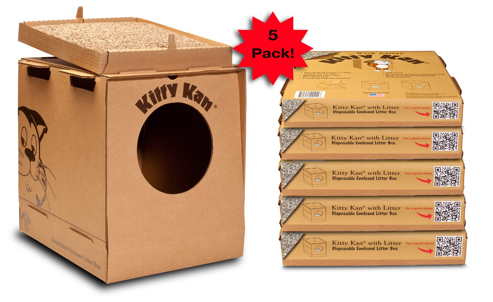 Kitty Kan 5-Pack WITH Litter-Quality Disposable Enclosed Litter Box