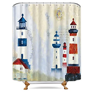 Amazon Riyidecor Cartoon Lighthouse Shower Curtain Kids Nautical Sailboat Retro Postcard Ocean Seagull Old Letter Decor Fabric Bathroom Set