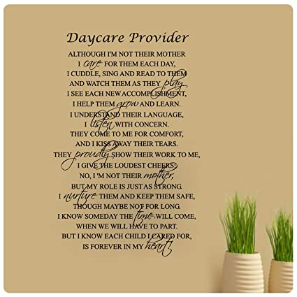 Amazoncom 36 X 24 Daycare Provider Poem Although I Am Not Their