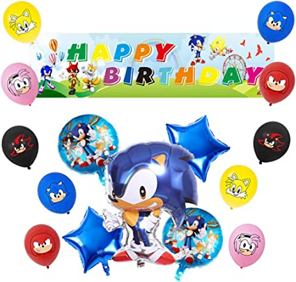 Amazon Com Beautiful Sonic The Hedgehog Balloons Sonic Theme Party Supplies Decorations Sonic Theme Birthday Decorations Set Include Sonic Banner For Boys Toys Games