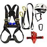 Fusion Climb Kids Backyard Zip Line Kit Harness Lanyard Trolley Carabiner Helmet Bundle FK-K-HLTCH-05