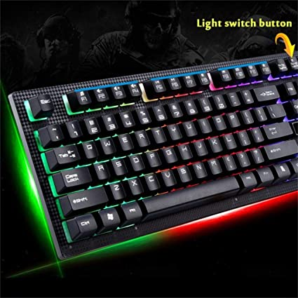 Amazon com: Wired USB Gaming Keyboard Backlight Gaming LED Rainbow