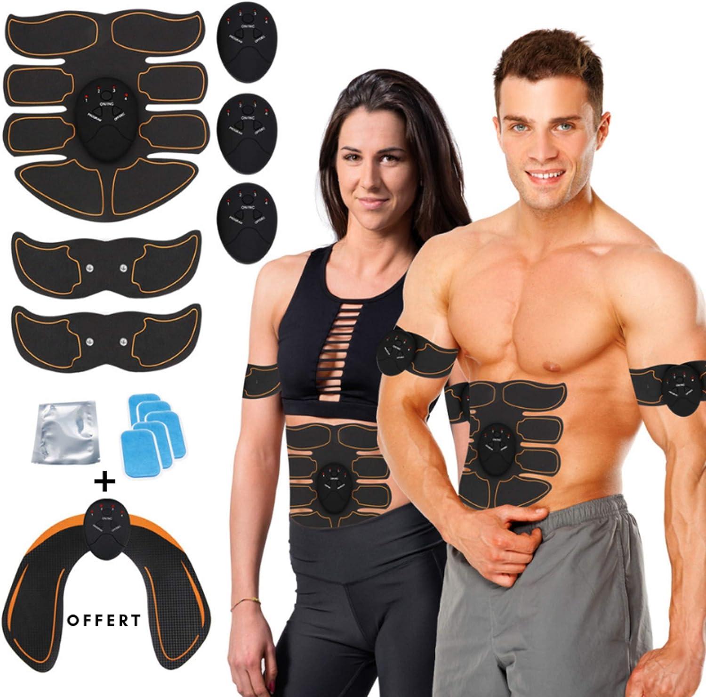 Appareil Stimulateur Musculation Musculaire Bras Jambes Massage Muscles Cuisses Appareil fessier Offert Ceinture Abdominale /Électrostimulation Homme Femme Noir