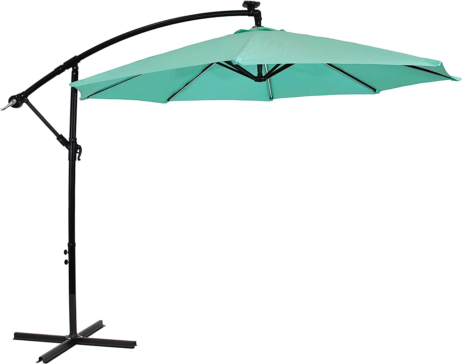 Sunnydaze Outdoor Cantilever Offset Patio Umbrella with Solar LED Lights - Outside Waterproof Polyester Shade Steel Pole - Air Vent, Cross Base and Crank - 9-Foot - Seafoam