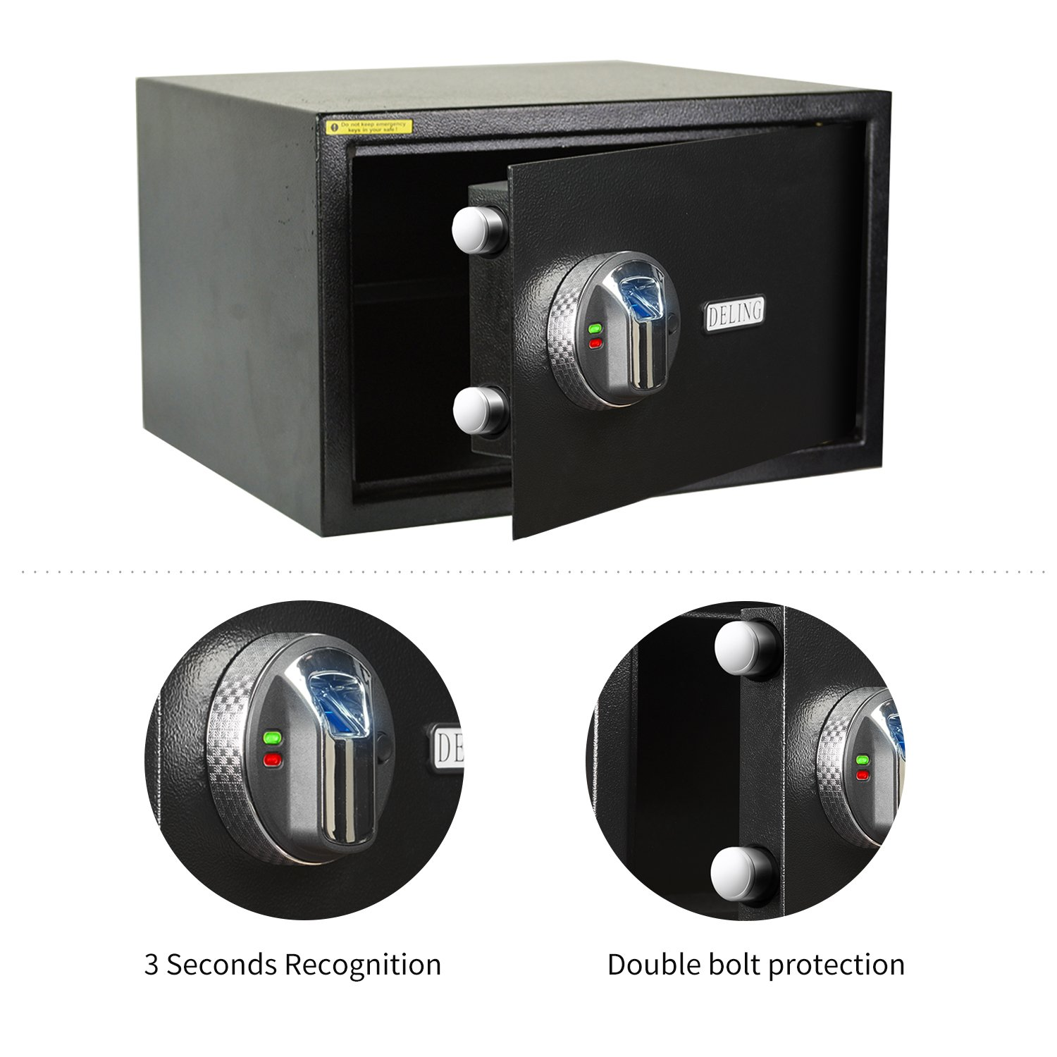HYD-Parts Digital Security Safety Box,Money Gunsafe Cabinet Box for Home Office Hotel (27)