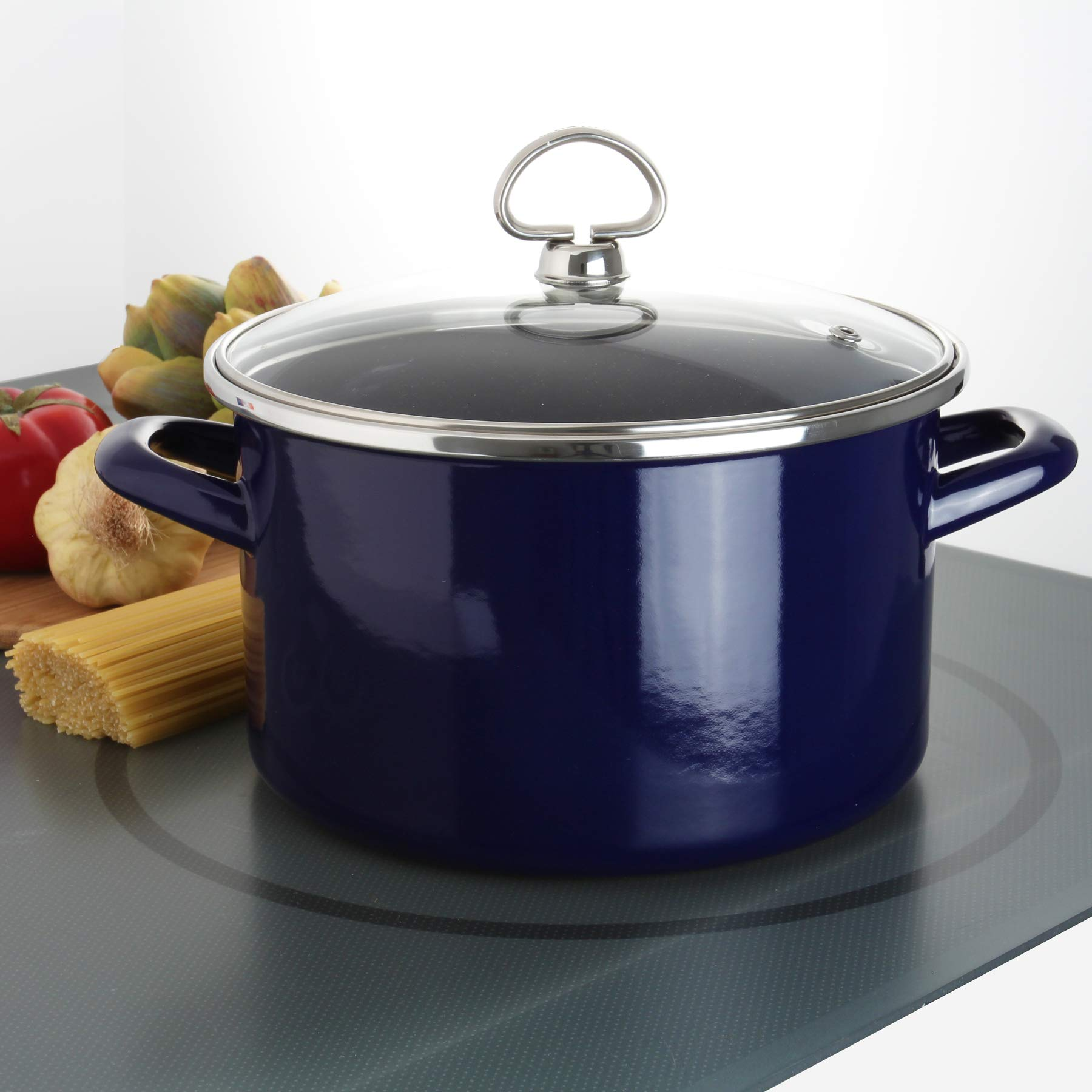 Chantal Enamel-On-Steel 4-Quart Soup Pot with Tempered Glass Lid, Cobalt Blue
