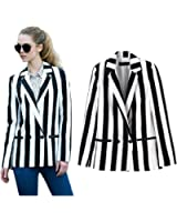 Moxeay Black And White Striped Leisure Blazers Jacket Suit Classic Outwear