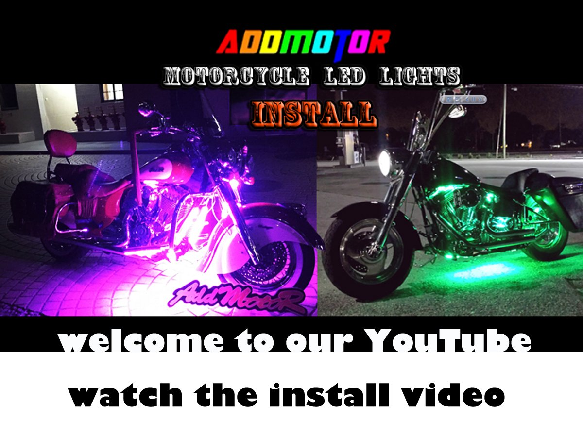 Addmotor Motorcycle LED Light Strip Kit RGB 18pcs Multicolour Remote App Cotrol Flexible Strip Kit with Music Sync for Universal Motorcycle (18pcs Remote App Control) by Addmotor (Image #1)