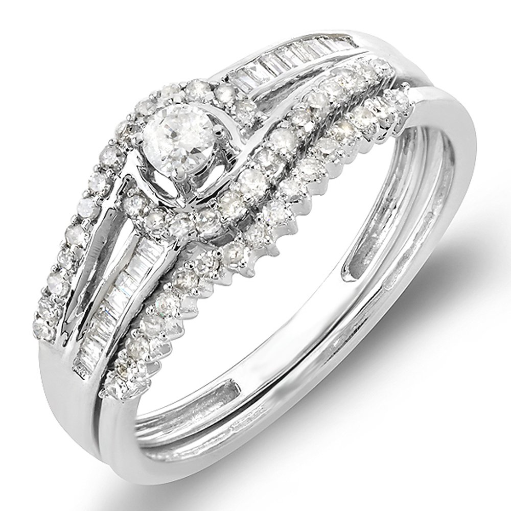 0.50 Carat (ctw) 10k White Gold Round & Baguette Diamond Ladies Swirl Engagement Matching Band Halo Style Bridal Ring Set 1/2 CT (Size 7) by DazzlingRock Collection