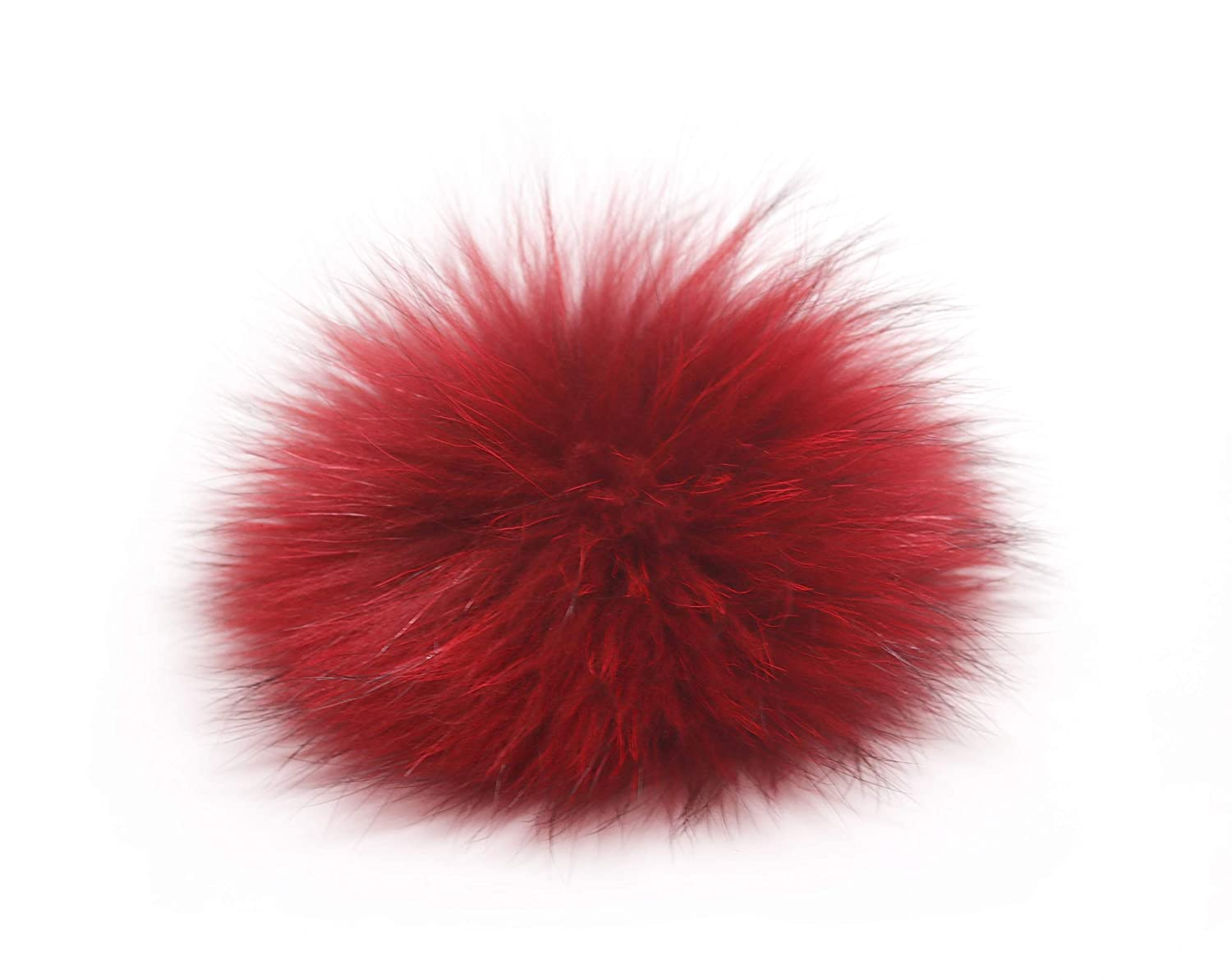"5"" Real Raccoon Fur Pom Pom with Button for Knitted Fur Hat Beanie Hats (Black) U&M2"