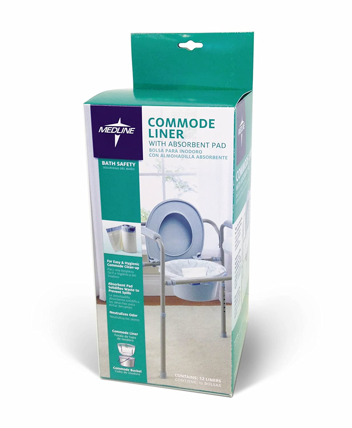 Medline Commode Liners with Absorbent Pads (Pack of 72), Perfect for use in Any Bedside Commode