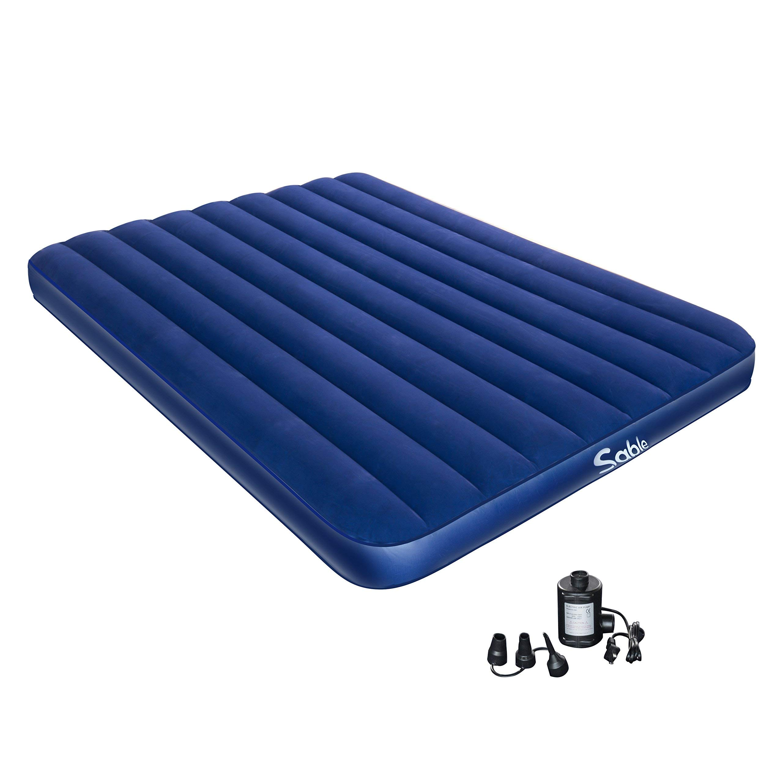 Sable Camping Air Mattress with Electric Air Pump, Inflatable Air Bed Blow up Bed for Car Tent Camping Hiking Backpacking - Height 8'', Queen Size (Certified Refurbished)