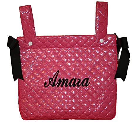 Bolso carrito bebé plastificado personalizado con nombre bordado/color fucsia/