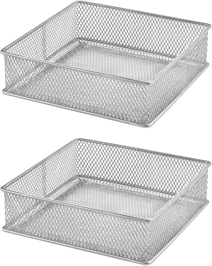 Ybm Home Silver Mesh Drawer Cabinet and or Shelf Organizer Bins, School Supply Holder Office Desktop Organizer Basket 1595s-2 (2, 6x6x2 Inch)