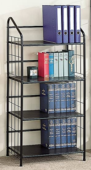 Coaster Home Furnishings Book Shelf Bookcase In Black Metal Frame With 4 Tiers Of Shelving