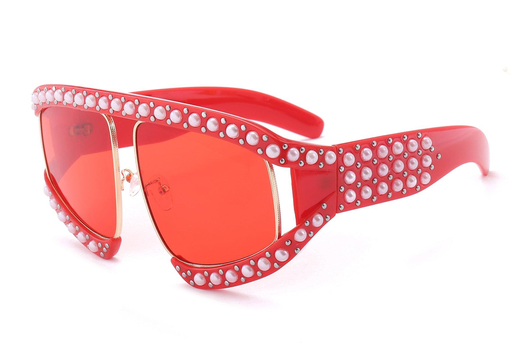 FEISEDY Stylish Oversize Beaded Women Sunglasses Inspired Brand Design B2420