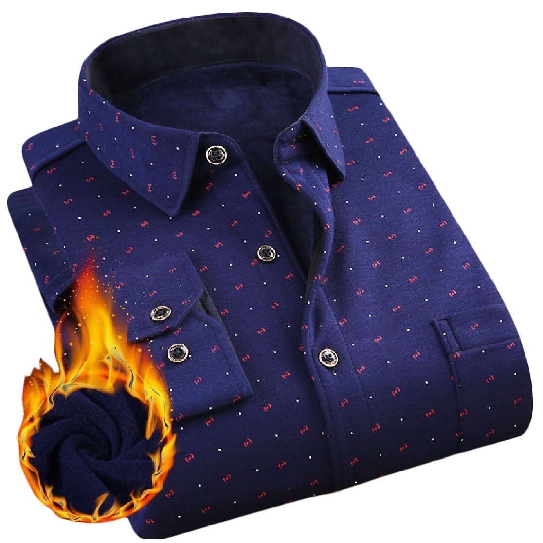 YUNY Mens Lapel Warm Long Sleeve Buttons Flannel Printing Thicken Dress Shirt AS8 M