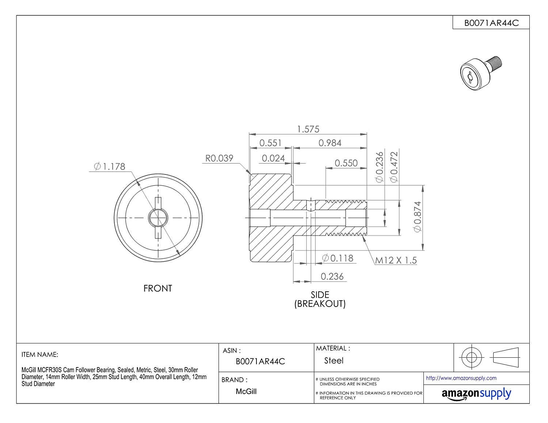 Steel Metric 30mm Roller Diameter 14mm Roller Width 12mm Stud Diameter McGill MCFR30S Cam Follower Bearing Sealed 40mm Overall Length 25mm Stud Length