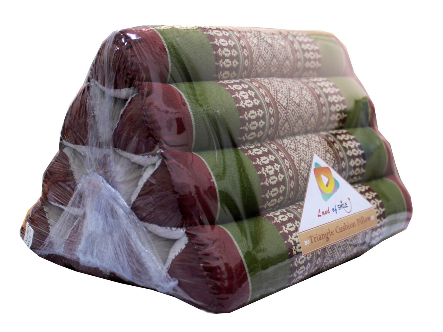 Thai Triangle Cushion Pillow with Traditional Pattern Natural Cotton Cover (Green/Red)