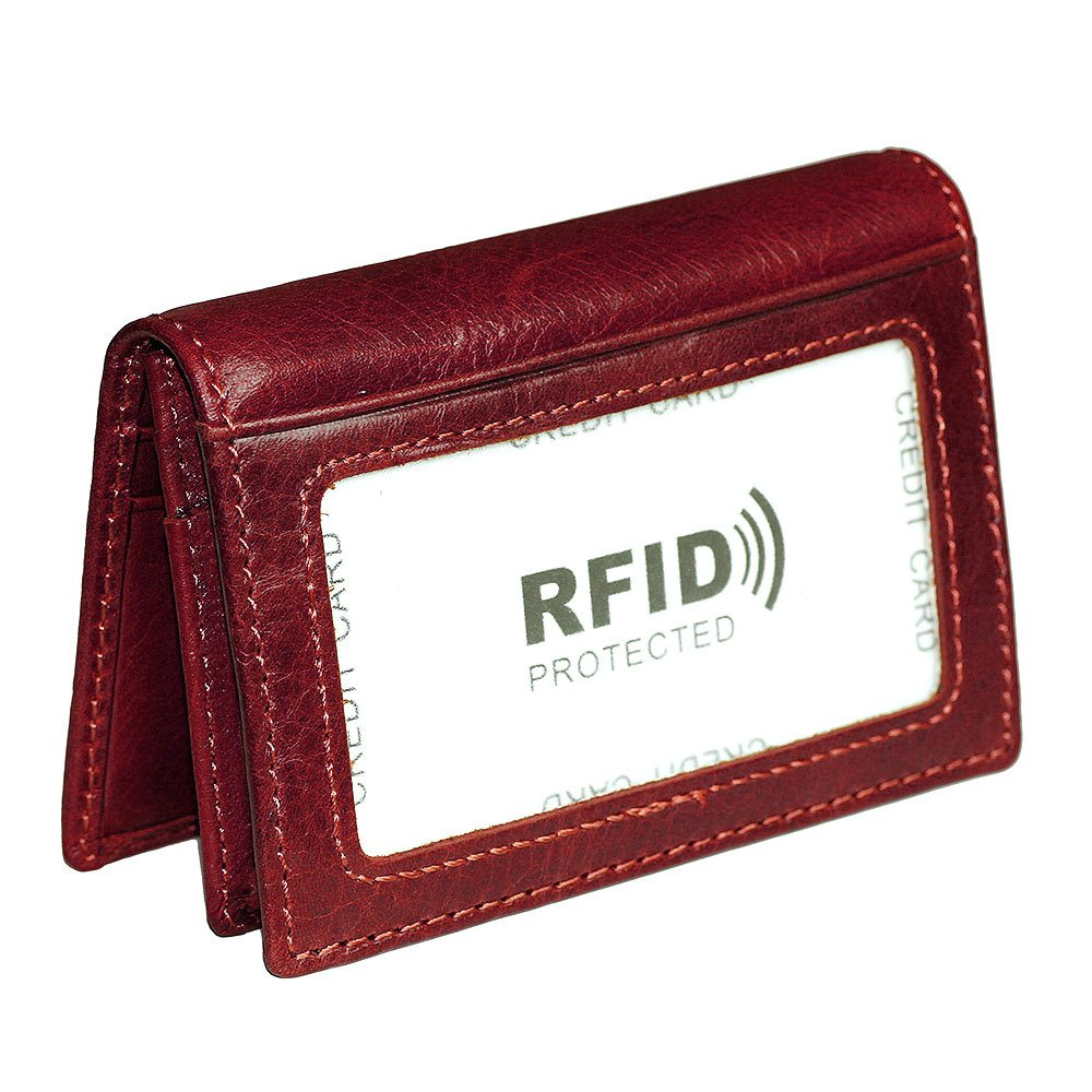 Hibate Women's Leather Credit Card Holder Wallet RFID Blocking Sleeve ID Case - Red
