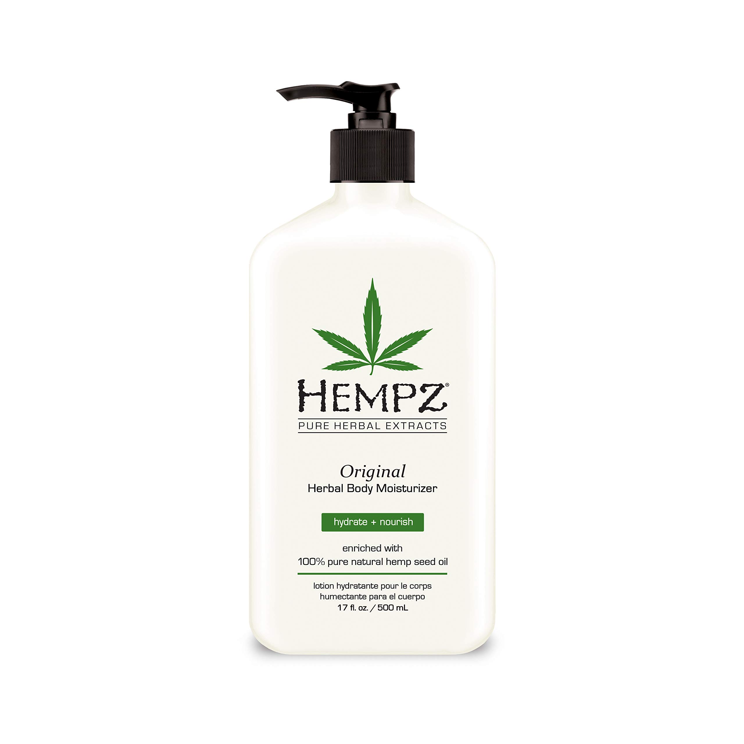 Original, Natural Hemp Seed Oil Body Moisturizer with Shea Butter and Ginseng, 17 Fl Oz – Pure Herbal Skin Lotion for Dryness – Nourishing Vegan Body Cream in Floral and Banana