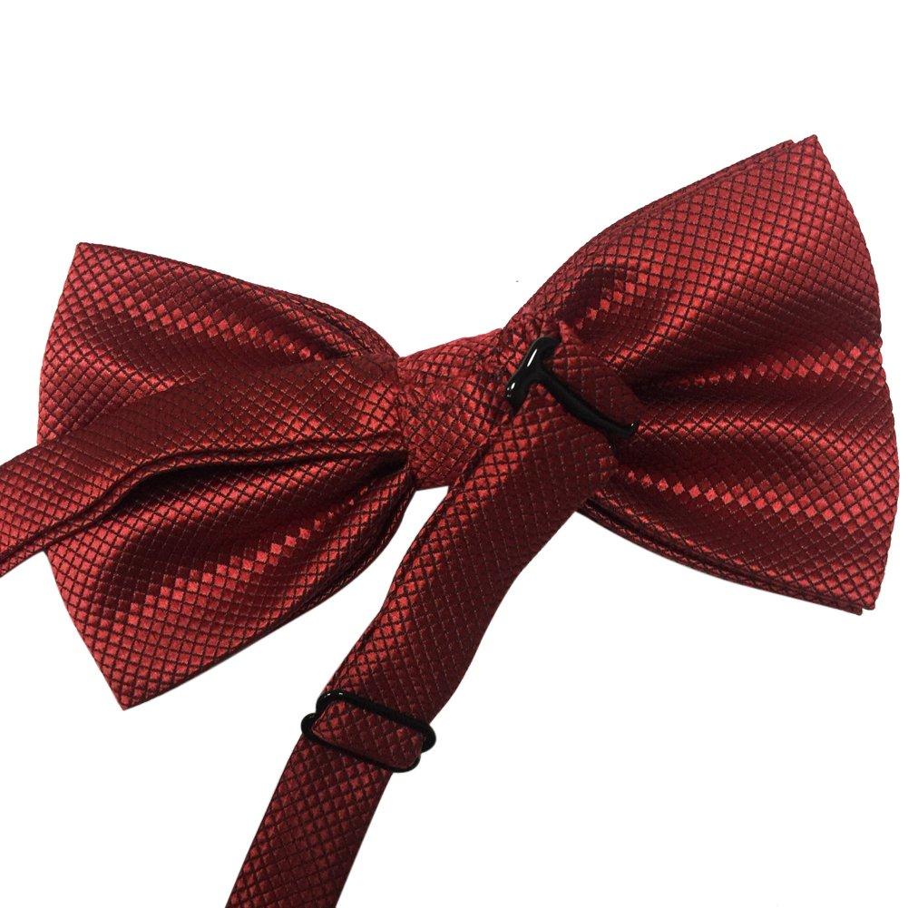 Mens Pre-tied Plaid Pattern Formal Bowties Banded Bow Ties Dark Purple