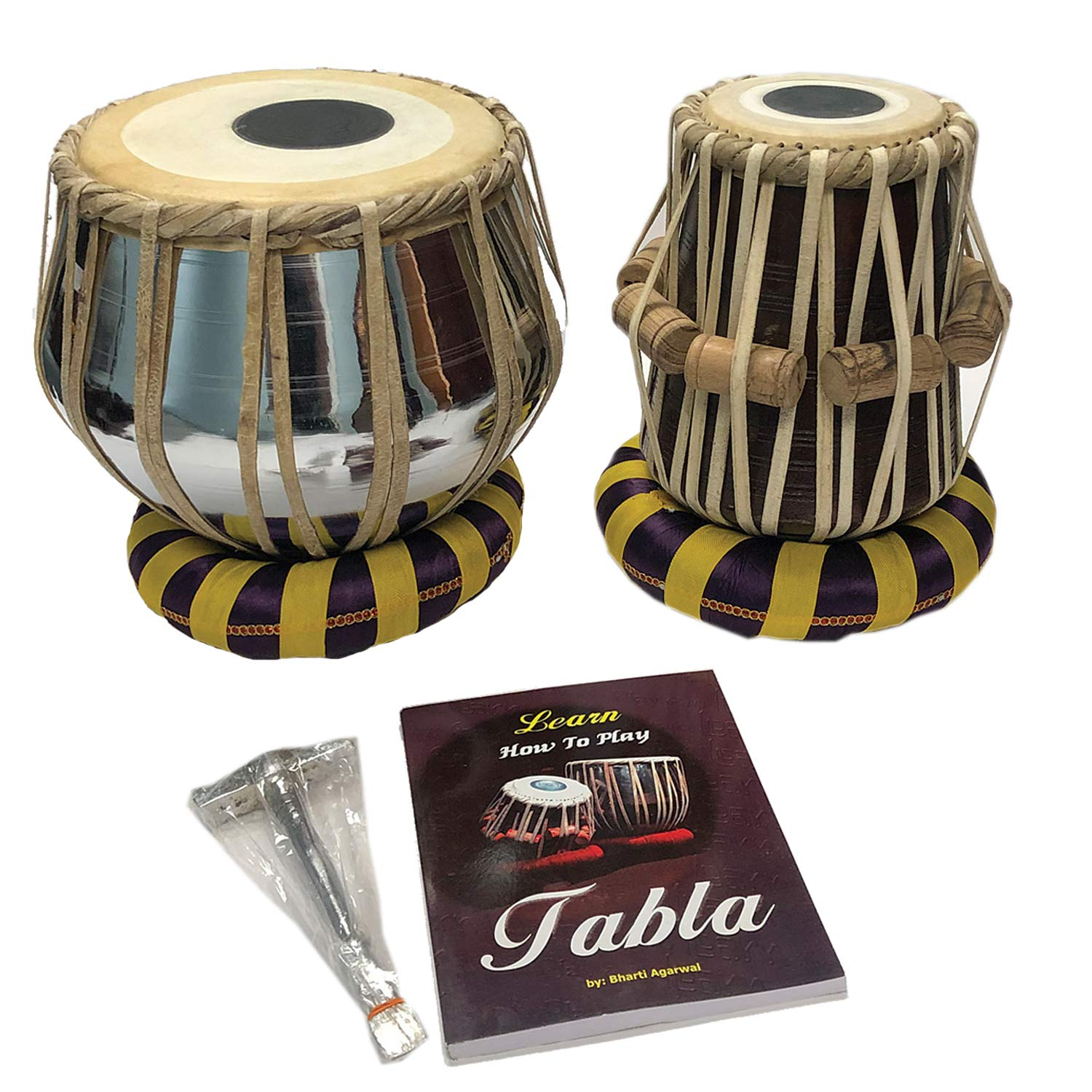 Satnam Steel Bayan Hand Crafted Professional Steel Tabla Drum Set for Student and Beginners with Tabla Set Gig Bag   Tabla Set Hammer   Tabla Set - Music Book   Tabla Cushions & Cover - Made in India by Satnam