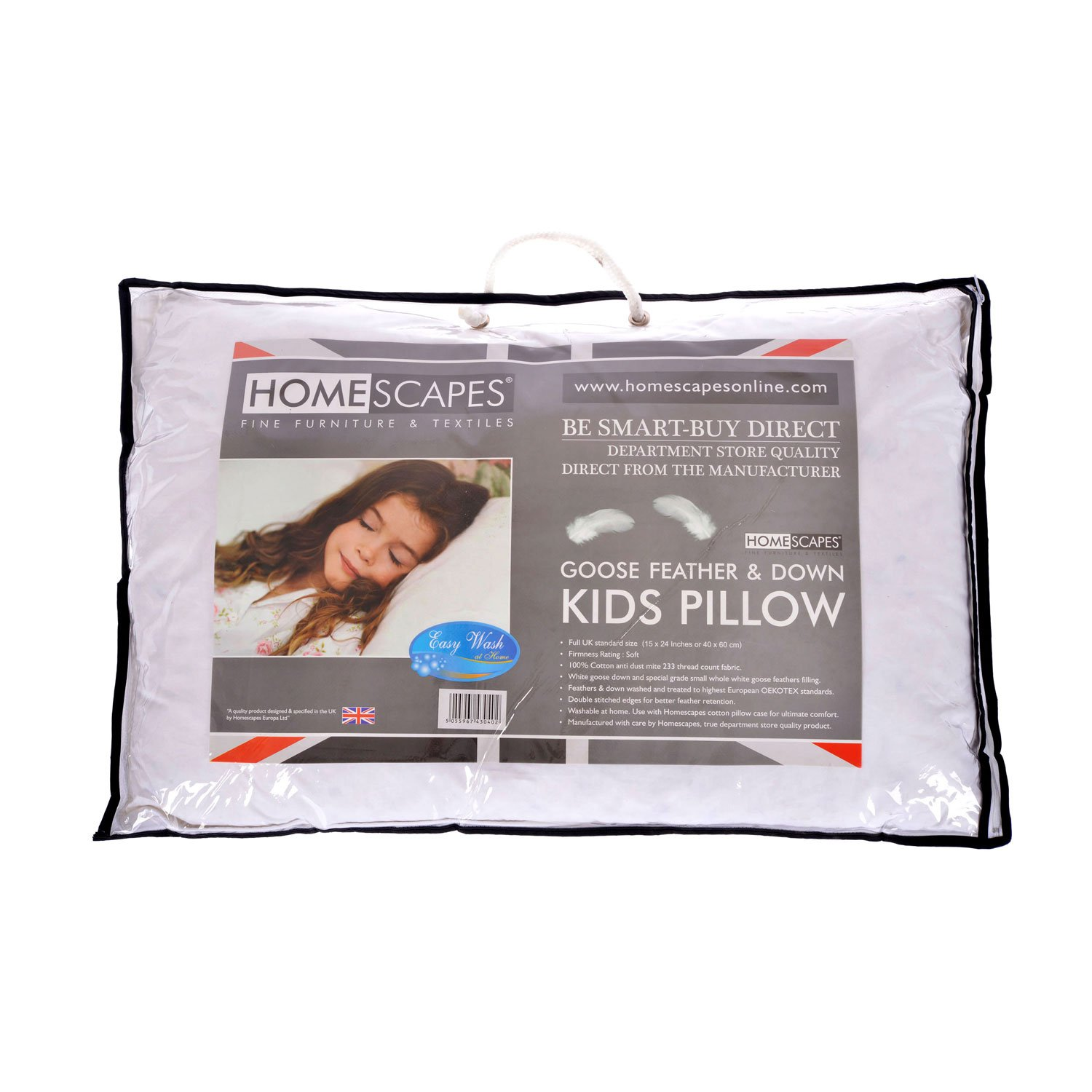 HOMESCAPES Kids Pillow 40 x 60cm - Goose Feather Down Filling - 100% Cotton Fabric Washable Anti Dust Mite - Firmness Soft/Medium - RDS Certified.