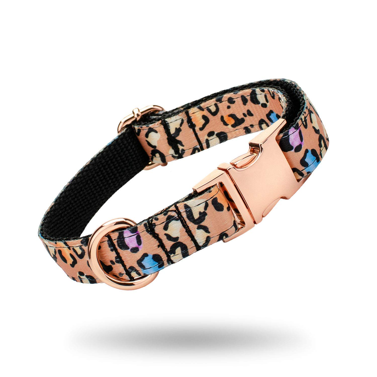 Elegant Beige Leopard Print Dog Collar and Leash Set, Adjustable with Rose Gold Metal Quick Release Buckle - Handmade Pet Collars for X-Small, Medium, Large Dogs