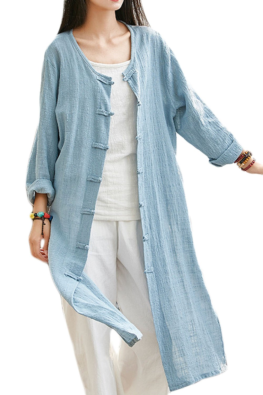 Women Original Vintage High Split Frog Button Linen Trench Coat Greyblue One Size