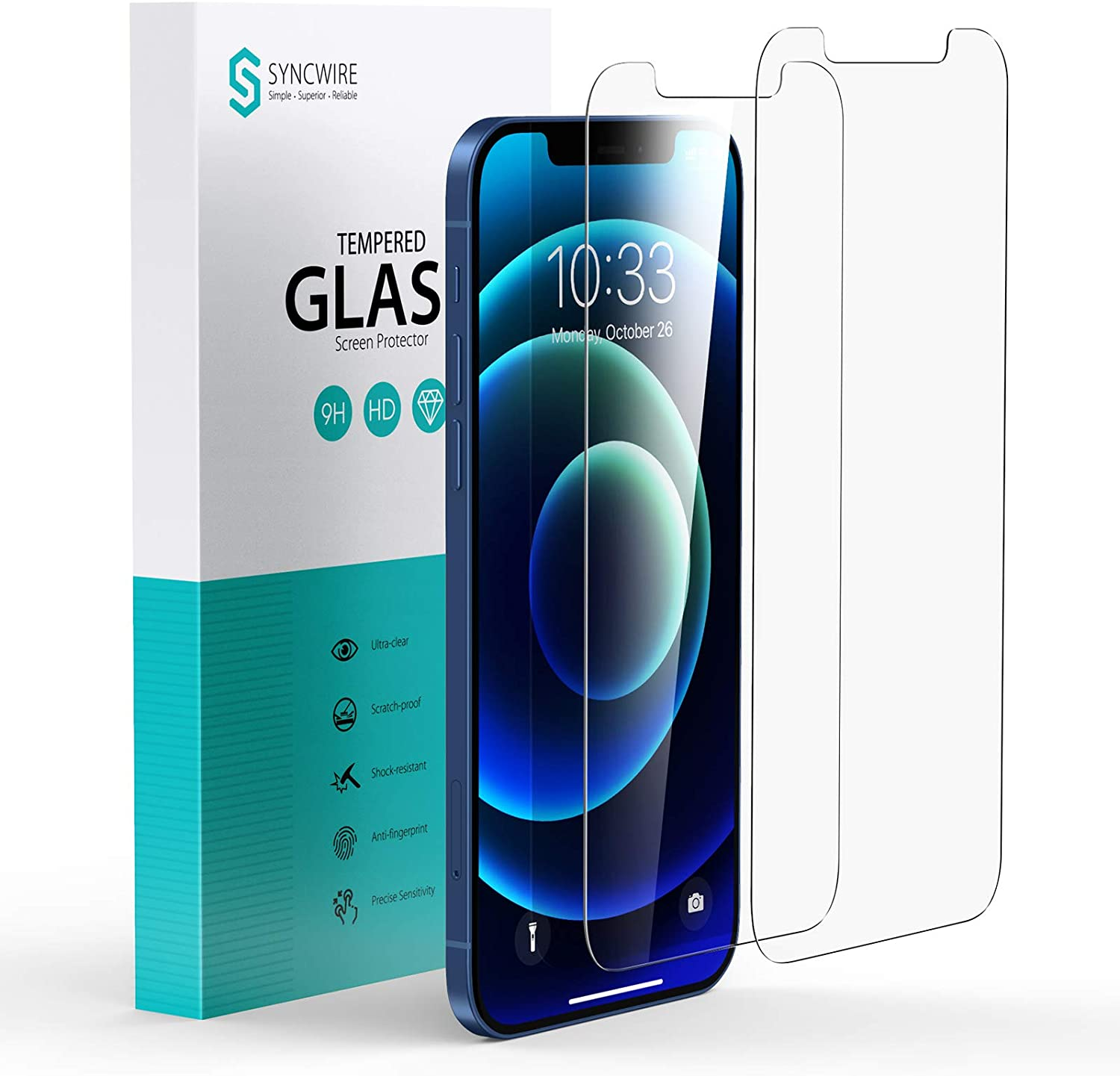 Syncwire Screen Protector for iPhone 12/12 Pro [2 Pack], Anti-Fingerprint Tempered Glass Screen Protector (9H Hardness, 6X Stronger, Bubble Free) [Not Edge to Edge]