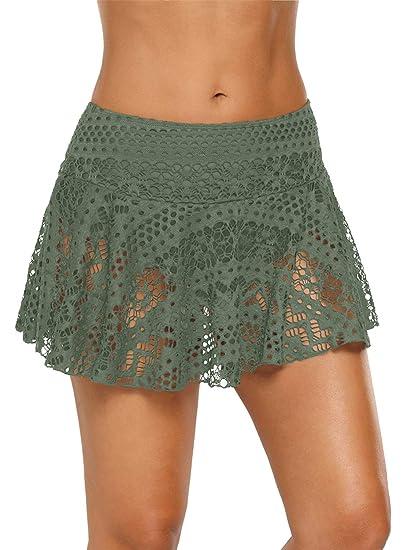 522231cc48 Momodani Women's Lace Crochet Skirted Bikini Bottom Swimsuit Short Skort  Swimdress,Army Green Skirt,