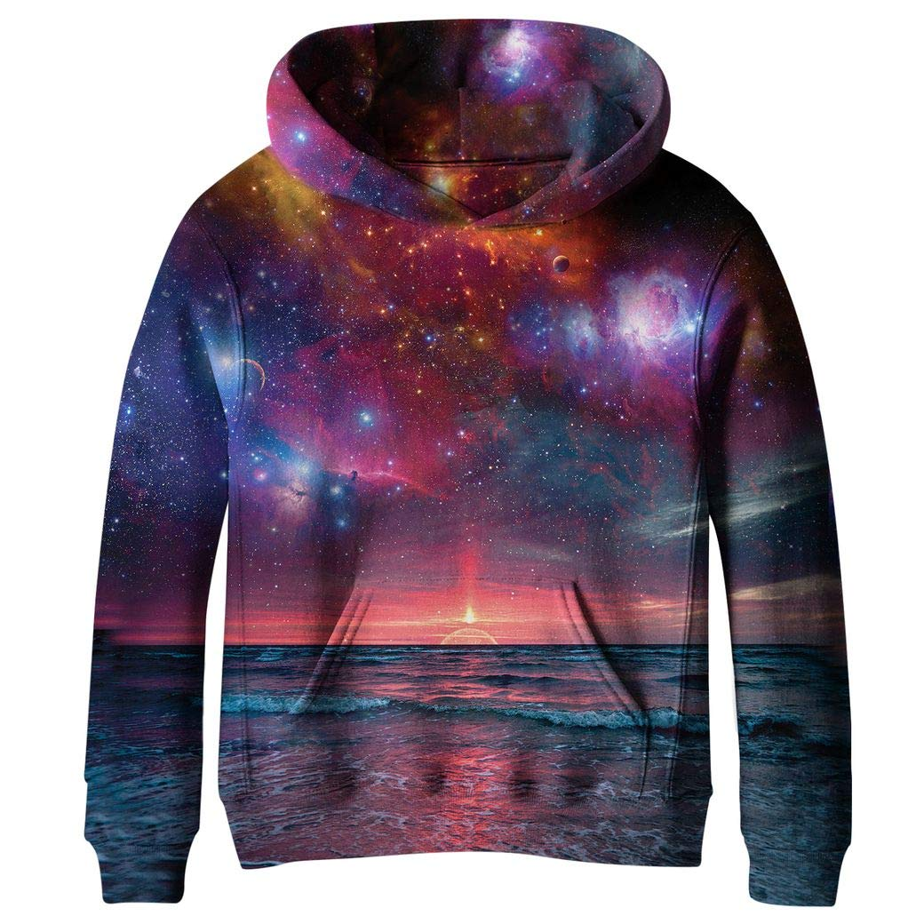KNTOUDX Big Girls Fleece Galaxy Sweatshirts Pullover Hooded Hoodies