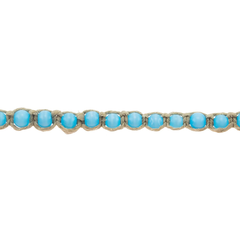 BlueRica Hemp Anklet Bracelet with Turquoise Blue Cats Eye Beads