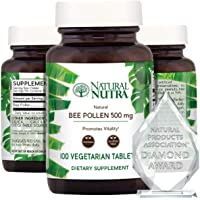 Nutra 100% Pure Bee Pollen Pills for Protein Energy, Healthy Skin Supplements, Allergy Relief, Immunity Support, Health and Vitality Nutritional Supplement, 100 Gluten Free Vegetarian Tablets