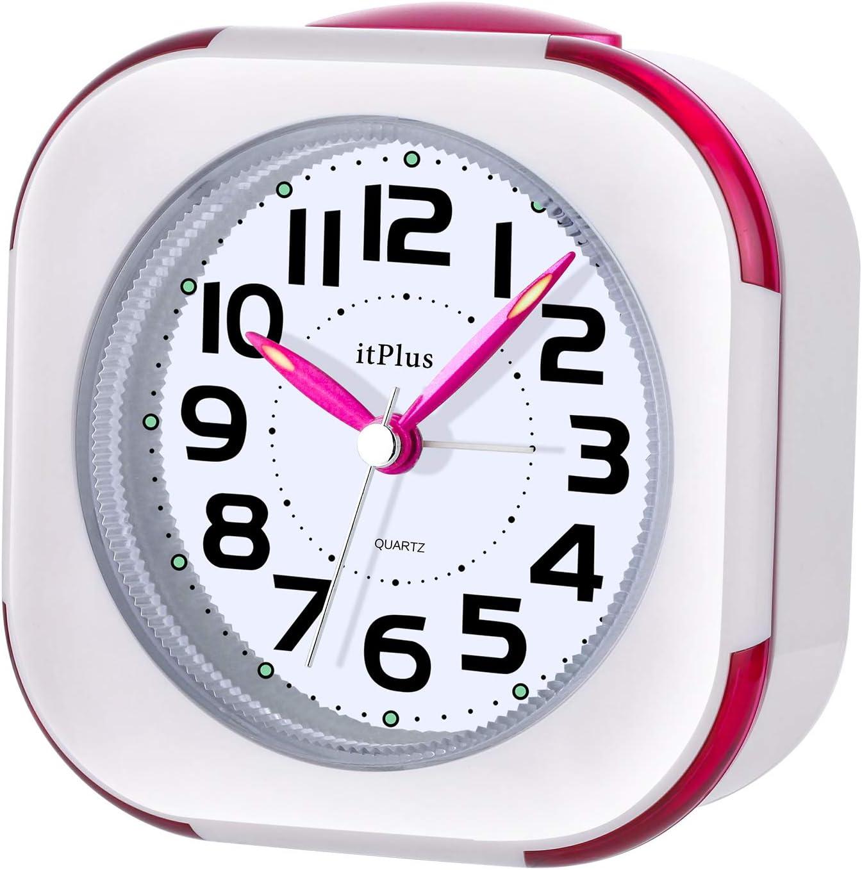 目覚まし時計, めざまし 時計 アナログ 連続秒針 見やすい カチカチならない 大音量 目覚まし 時計 アラーム LEDライト2つ Alarm Clock コンパクト スヌーズ機能 30曲 音楽ループ 高音質 寝室 室内 洗面所 旅行用(赤)