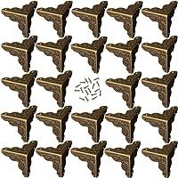 24 Piezas Esquina Bronce Antiguo Para Decorativo de Caja Protector de Cubierta Incluye 96 Clavos (Bronce)