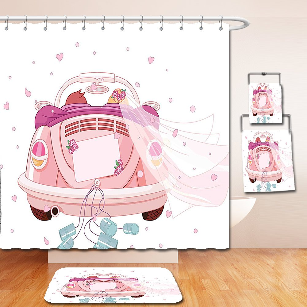 Nalahome Bath Suit: Showercurtain Bathrug Bathtowel Handtowel Wedding Decorations Happy Bride and Groom in Old Fashioned Car Hearts Blue Cans Light Pink Blue White