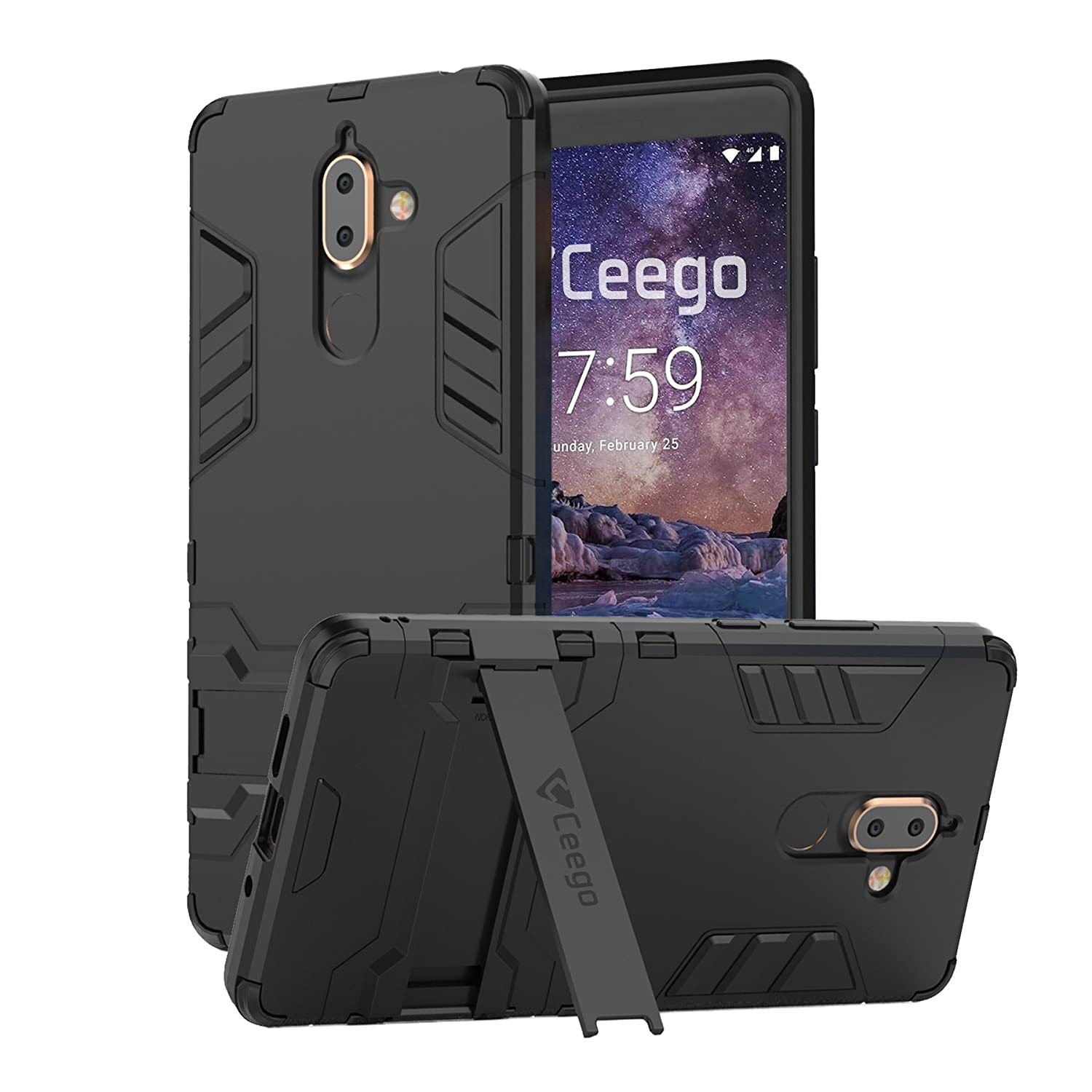 uk availability 2c837 ccb7b Ceego Back Cover for Nokia 7 Plus - Stealth Defence Back Case for Nokia 7  Plus [with Shock Protection & Built-in Stand] – Matte Black