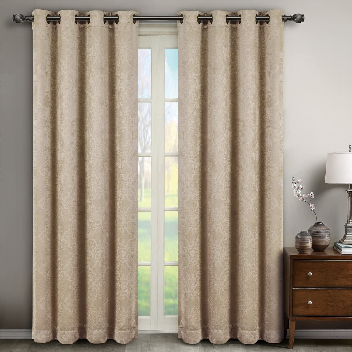 Deluxe Energy Efficient Room Darkening. Pair of Two Top Grommet Blackout Weave Embossed Curtain Panel, Elegant and Contemporary Bella Blackout Panel, Beige, 108 Panel