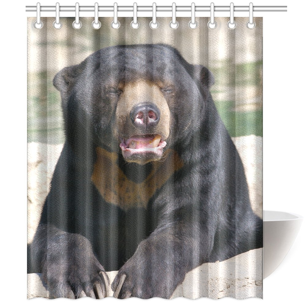 CTIGERS Animal Theme Shower Curtain Funny Black Bear Open Its Mouse Polyester Fabric Bathroom Decoration 60 x 72 Inch by CTIGERS