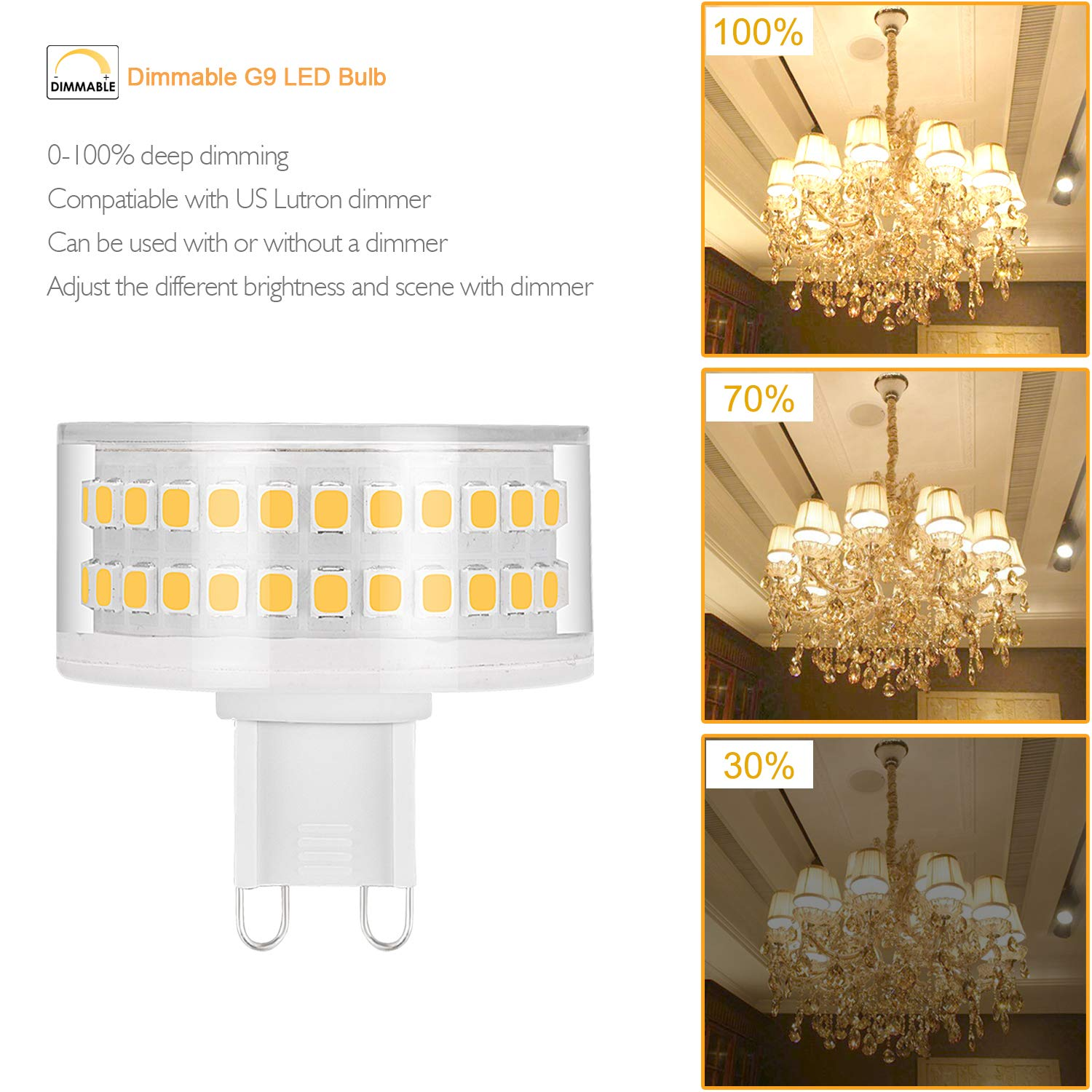 G9 Led Bulb Dimmable Warm White 2700k Light Bulbs 7W 60W 70W 80W Halogen G9 Lamp Equivalent AC110-130V Mushroom Shape Lighting 360 Degree Beam Angle(Pack of ...