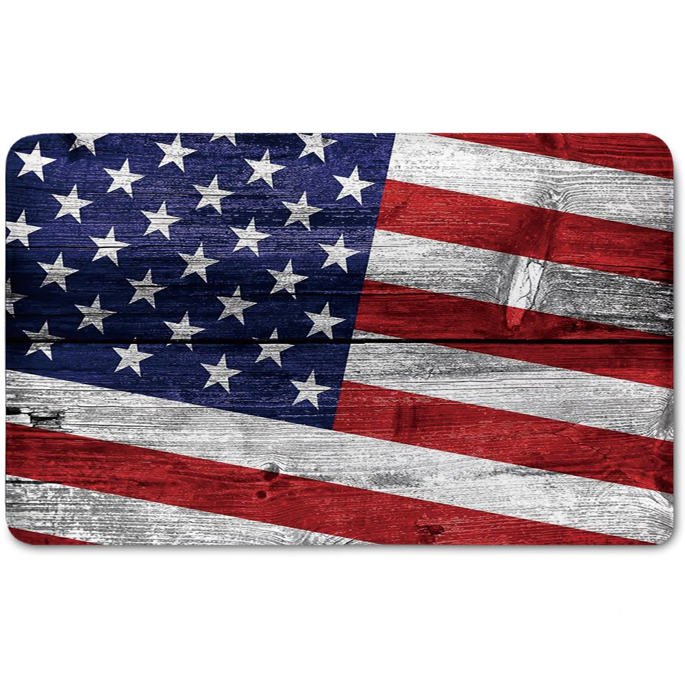 Memory Foam Bath Mat,Rustic American USA Flag,July Independence Day Commonwealth Country Emblem Patriotism Wooden Plank LookingPlush Wanderlust Bathroom Decor Mat Rug Carpet with Anti-Slip Backing,