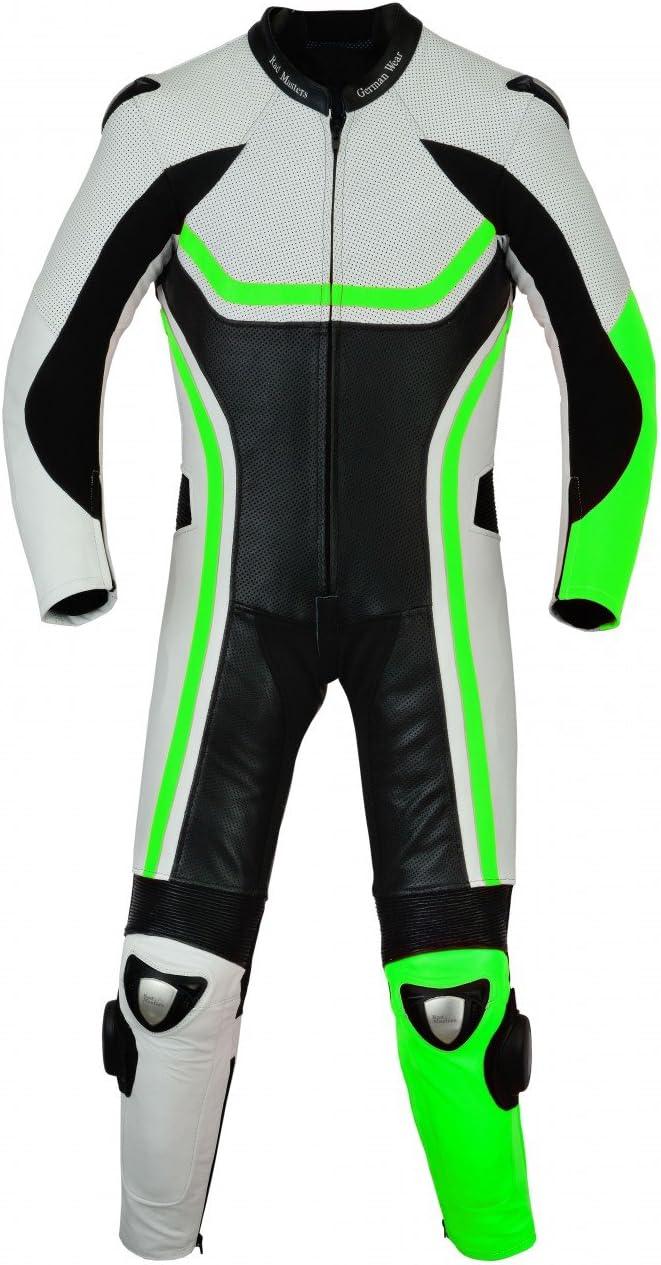 German Wear Greenbrook Ender Einteiler Moto combinado Moto piel combinado de piel de vacuno Echtleder Combi verde tama/ño 50